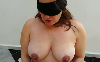 Submissive busty chubby spliced in black stockings deserves some punishment
