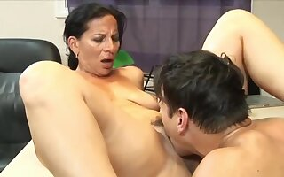 Stunning 63yo Mature Mom with Hot Body having Trail with her 22yo Boss