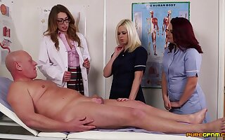Older guy gets his cock pleasured by horny Anna Joy and friends