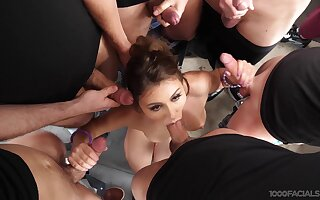 First gangbang grants this fine ass lady a huge facial experience