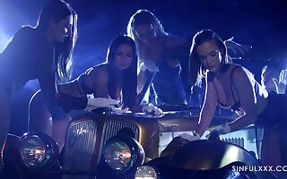 Hot girls nearly white gloves are touchings a car of one rich man