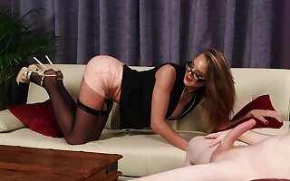 Classy MILF rubs pussy space fully sultry man jerks wanting for will not hear of