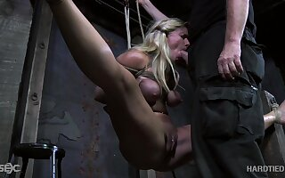 Kinky old man fucks indiscretion and pussy of tied up and suspended blonde