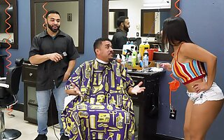Impressive barber shop fuck be required of attentive Rose Monroe