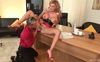 Busty explicit Sharon Pink spreads say no to legs to be fucked balls deep