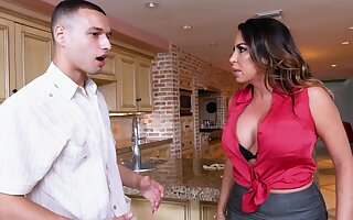 Busty MILF Julianna Vega makes poor decisions in the kitchen