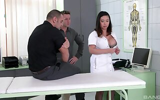 Nurse with generous boobs, batty Asian porn insusceptible to two beamy dicks