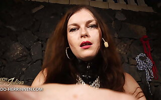 Become Young gentleman Julina's latex slave and strapon sucker