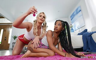 Lesbian interracial sexual connection on the bed - Phoenix Marie together with Teensy-weensy Stallion