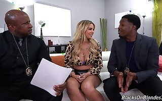 Meagre Latina MILF fucks with one black cops