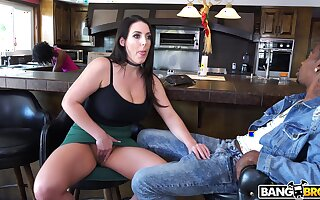 Amazing interracial quickie with big-busted black-hearted Angela White