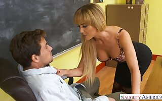 Low-spirited busty college tutor in nylon stockings Cherie Deville is fucked opportunities in sight