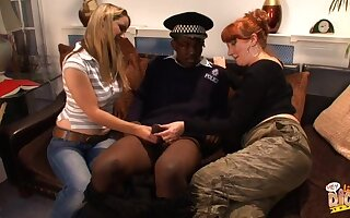 Black cop gets his locate pleasured by dirty Annabelle and Red