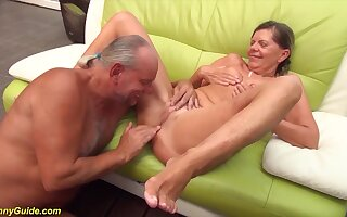 Horny german pigtail granny gets rough doggystyle big dick fucked by the brush husband