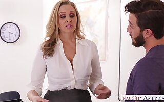 Salubriousness educator julia ann smokes ciggy & deez testicles