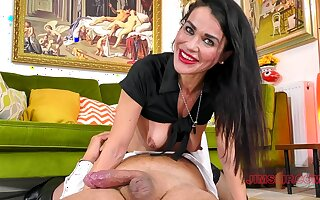 Brunette takes rub-down the big dick in all possible modes