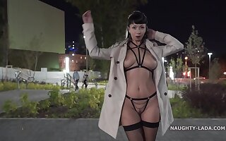 Naughty shadowy MILF exhibitionist flashing downtown - outdoor public fetish