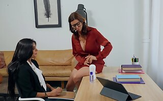 College counselor Alexis Fawx makes cute coed Katya Rodriguez environment better
