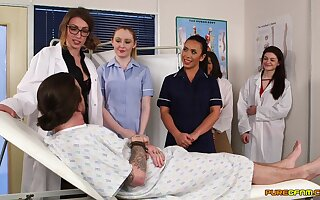 Unnerved nurses in the hospital ready for a one time cFNM orgy