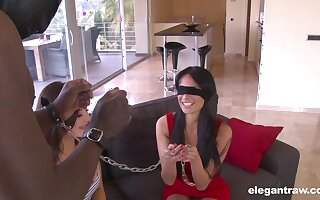 A marvelous display of two energized women parceling out cock in kinky scenes