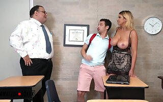 Brooklyn, Slut Ghoul Creampied - Blonde mom has classroom sexual relations with respect to student