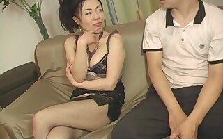 Horny Japanese matured Kyoko Misaki enjoys riding a feigned detect