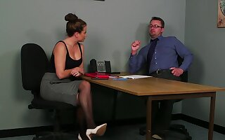 Office MILF gets laid with burnish apply guy during burnish apply job go after