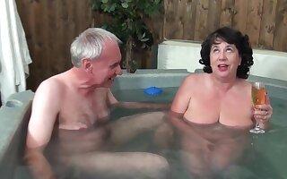 Mature grandma and grandpa - Water Board Inspector - Big saggy tits