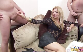 Two amateur dudes get pleasured by Amissi increased by Scarlett March