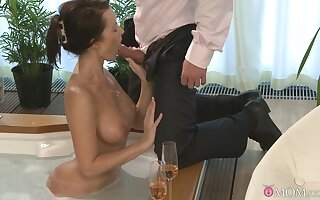 Busty Cindy Dollar has a blast swirling her tongue at bottom Hawkshaw before copulation
