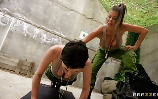 Lesbians share intriguing 69 and softcore in the army