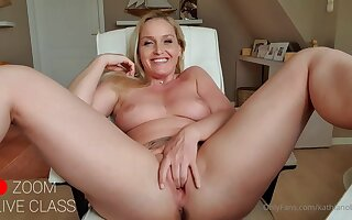 Tow-haired teacher mom with Chunky special masturbating live in zoom class