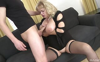 Fat mature with respect to saggy tits gets fucked by a younger guy