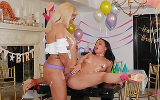 Oiled ass babes share romantic lesbian scenes during a birthday party