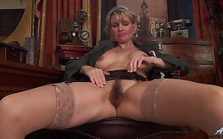 Hairy pussy of age Roxy Jay moans while masturbating at habitation