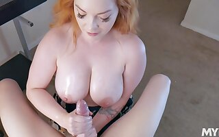 Vitalized redhead with huge melons, nasty 45 yo POV action