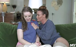 Slutty MILF stepmom seduces her shy stepdaughter into eating her pussy