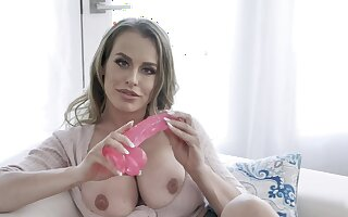 Chesty MILF Corinna Blake uses her favorite pink toy for pleasure
