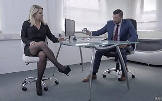 Female boss wants this horny man's huge dick in her tiny holes