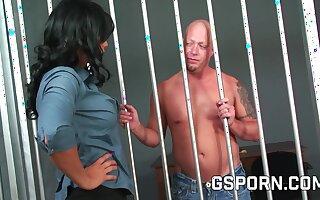 The police inspector girl fucks the silly prisoner.