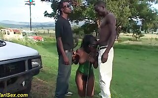 Horny african fetish milf with saggy tits enjoys a wild outdoor threesome fuck orgy