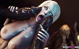Nasty blonde milf called Samus Aran from Metroid gets fucked by aliens