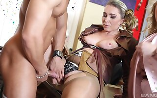 CFNM orgy sex in the room full with clothed women - Ferrarra Gomez
