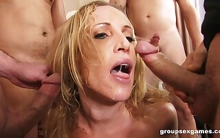 Blonde professional escort Samantha fucked by a couple of guys