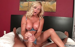 Busty blonde pornstar Dani Dare lets her man touch her pussy