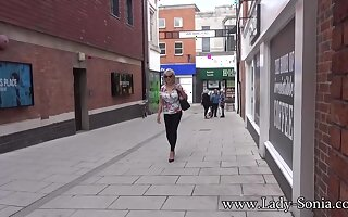 UK MILF Sonia shows her tits in public, and sucks dick on side road - LadySonia