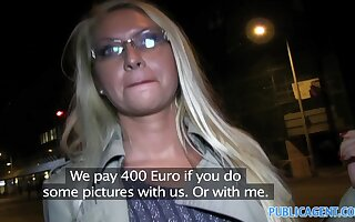 PublicAgent: Hot blonde MILF gets fucked for cash in a car