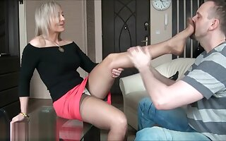 Ala seduces her man with nylons then gives foot job.