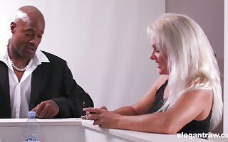 Whorish cougar Kathy Anderson is cheating on her husband with handsome black guy