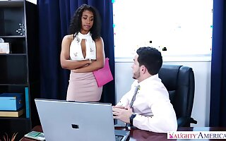Gorgeous, black chick, Jenna Foxx likes to have sex with her boss, as A often as A possible